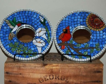 Mosaic Mirror or Frames, Set of Two, Cardinal and Hummingbird