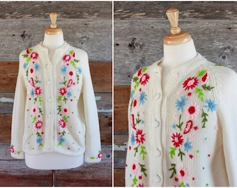 1960s floral embroidered cardigan sweater | 60s spring flowers cardi | size s - m - l