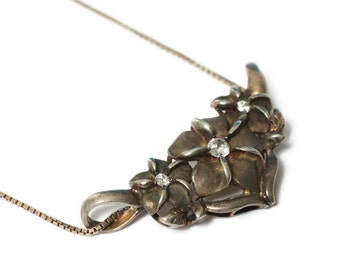 Sterling Hawaiian Plumeria Flower Pendant Necklace Vintage