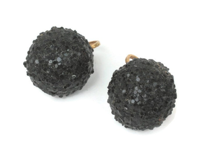 Black Sugar Bead Domed Earrings Clip On Style Vintage