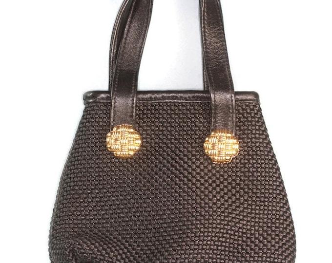 Designer Black Fabric Handbag Leather Trimmed Inge Christopher Smaller Vintage