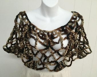 Crocheted Lacy Poncho Cape in Brown Neutral Yarn Bulky Chunky One Size fits Most