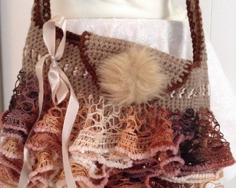 """FUN Purse or Handbag Large Bag Style in Brown Neutral Tones with Ruffles all Around - 12""""W x 9""""H x 2""""D"""