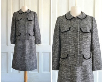 60s Vintage Suit  Skirt and Jacket  Black and White Checked  Jackie O  Davidow  Two Piece