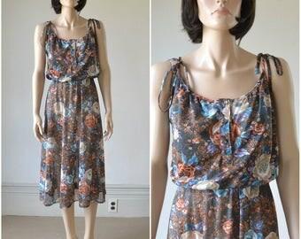 70s Sheer Sundress Floral Print Dress