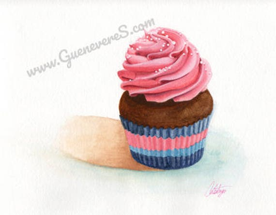 Pink Swirl Cupcake watercolor original painting