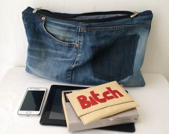 large denim clutch bag, recycled denim, denim purse, denim bag, oversized clutch, levis, jeans, upcycled, denim zipper pouch,manbag