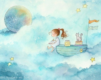 She Writes Stories About the Stars - Art Print