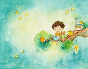 Reading Under the Stars - Boy with Brown Hair Reading to Teddy Bear and Owl -  Art Print