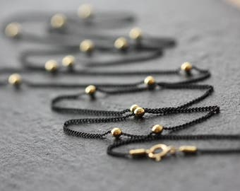 Black Long Chain Gold Beads, Birthday Gift for Wife, for Sister, Goth, Satellite Chain, Modern Necklace, Trending Now, for Layering, Summer