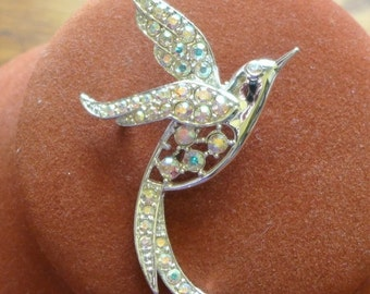20% Sale Jewelry Sarah  Coventry Brooch Silver AB Rhinestones Beautiful Paradise Vintage