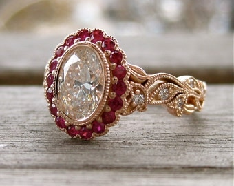Oval Diamond Engagement Ring in 14K Rose Gold with Rubies and Diamond in Vine Setting Size 6