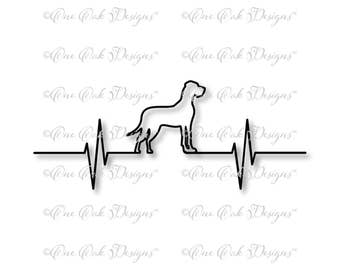 Great Dane Dog EKG Heartbeat SVG File PDF / dxf / jpg / png / svg File for Cameo, Cricut & other electronic cutters (Natural Ears)
