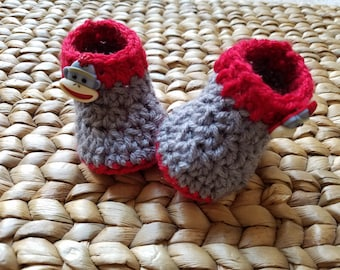 Crochet Baby Boots Booties - Red and Grey Gray Sock Monkey Button 0-3 Months - free shipping included