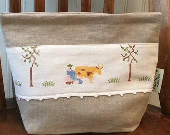 Farmer---- Organic Linen  Sandwich-Snack-Storage Lunch Bag/Lined
