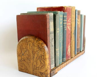 Vintage Pyrography Book Rack Expandable Folding Wood Shelf Bookend Floral Book Lover Gift