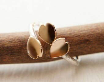 Cherry Blossom Petal Ring, 18k Solid Gold Ring, Japanese Sakura Jewelry, Rose Gold Ring, Open Ring