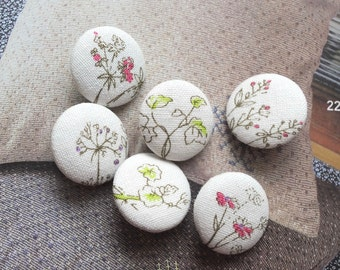 Natural Sketched Little Flowers Floral Herb Plants - Handmade Fabric Covered Buttons(0.87 Inches, 6PCS)