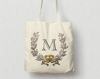 Monogram Tote Bag, Cotton Canvas Market Tote Wreath With Yellow Bow