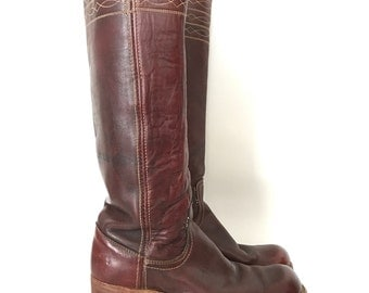 Vintage 70s FRYE Black Label TALL Campus BOOTS Wom 6.5 Deep Brown / Cherry Rare Color Knee High Pull On
