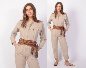 Vintage 80s JUMPSUIT / 1980s Khaki Cotton Flight Suit Jumper XS