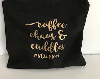 Coffee Cuddles Wet Bag//zippered Pouch