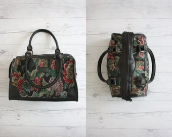 dark floral doctors bag
