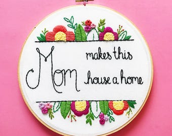 Personalized Mothers Day gift for grandma. Grandma Gift. First Mothers Day Gift. Hand Embroidered Gift for Mom. Floral Embroidery Hoop Art