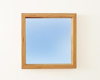 """Modern Wood Mirror, Wall Hanging, 20"""" Sqaure Industrial LVL/Microlam Frame, Custom Sizes Available"""