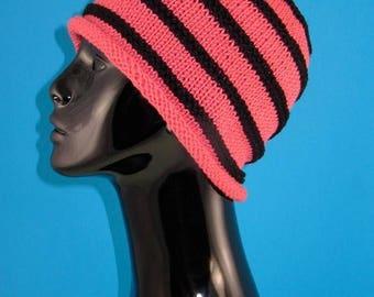 50% OFF SALE Digital file Pdf Download knitting pattern - Stripe roll Brim Beanie pdf download knitting pattern