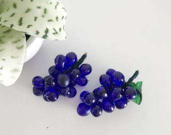 Vintage Cobalt Blue Glass Grape Cluster, Globe Grapes, Glass Fruit, Decor