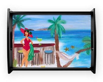 At the beach sandbar coastal serving tray from my art, available in 2 sizes