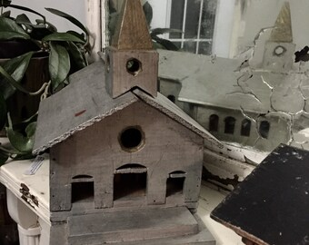 Primitive Folk Art Church 1910 handmade