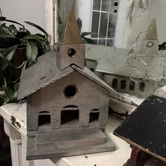 Primitive Folk Art Church 1910 handmade