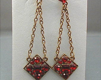 Vintage Red Rhinestone Dangle Chain Earrings Pierced