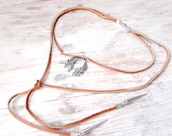 Leather Lariat Choker - Boho Leather Choker - Silver Lariat Choker - Leather Cord Choker - Leather Lariat Necklace - Charm Choker - Boho