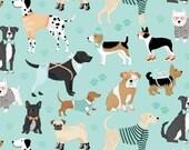 DOG LOVERS by Clothworks Fabrics - Dark Aqua Dogs Allover # Y1996-34 - Dog Quilt Fabric - By the Yard - Puppy fabric - aqua and grey
