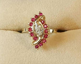 Vintage 14k Yellow Gold Ruby and Diamond Ring Size 6 1/2