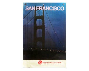 Vintage Northwest Orient Airlines San Francisco Travel Poster. Circa 1970's.