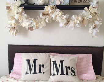 Burlap Wedding Garland, 6 - 10 foot Fabric Lace and Burlap Wedding Garland in Cream, White and Natural Colors. Elegant Shower Idea