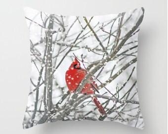 Winter Cardinal Throw Pillow - Photography Pillow -Winter Cardinal Pillow - Home Decor - Winter Decor