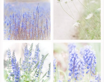 Purple Wildflower Photography Set - Set Of 4 Separate Prints -  Photography Wall Art Set -  Shabby Chic Wall Art - Set Of 4 Fine Art Prints
