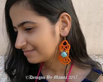 Bold Bohemian Earrings Crochet Pattern, Boho Dangle Earrings Pattern, Statement Earrings Pattern, Tribal Belly Dancing Earrings Pattern