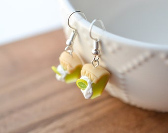 Scented Key Lime Pie Earrings Polymer Clay miniature Food Jewelry