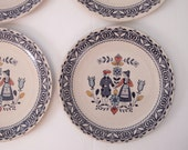 Set of FOUR Johnson Brothers Hearts and Flowers Staffordshire England Decorative Dinner Plates 10 inch