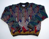 COOGI Australia XL Sweater size, Mercerised Cotton 14 Color Colorful 3D Knit, Crew Neck Hip Hop Biggie, Coogi Textured Geometric Pullover XL