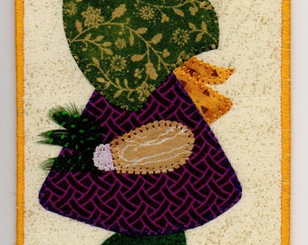 Mardi Gras Sue, A Sunbonnet  Sue Quilted Fabric Postcard