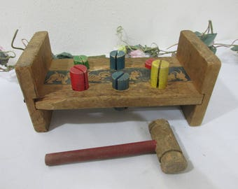 Antique Wood Toy Hammer and Bench with Colored Pegs
