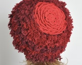 CUSTOMIZED - Floral Hat 4 - Warm - Red - Crochet Flower Adult Hat