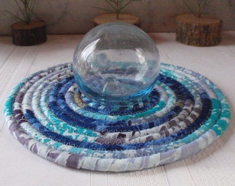 Cobalt Blue, Lavender and Turquoise Hot Pad, Trivet, Table Mat - Small Round - Handmade by Me